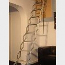 There are many styles of loft ladders that are easy to use and space saving.  We can fit the loft ladder and/or the loft hatch.|Aluminium scissor type loft ladder works well in confined spaces - non-slip stairs.|A Spacesaver Staircase is a cross between a ladder and a staircase.This ladder is fixed permanently in and can be used at much steeper angles than a normal staircase because of the shape of the treads.|A Double Delux Aluminium Loft Ladder|Standard Loft Aluminium Ladder Large|Folding Wooden Loft Ladder 1|Folding wooden Loft Ladder 2|